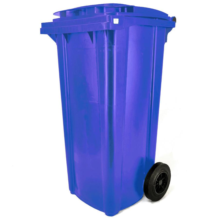Háztartási kuka 120L-es, kerekes, műanyag, premium, kék