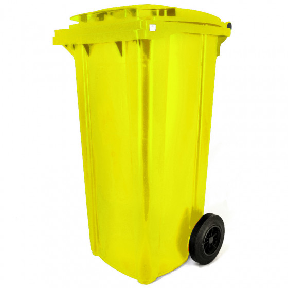 Háztartási kuka 120L-es, kerekes, műanyag, premium, sárga