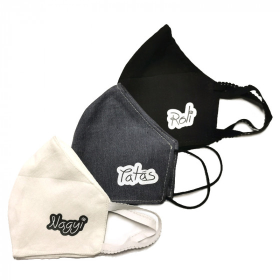 Mosható kétrétegű fekete, textil szájmaszk (női méretben) feliratozható
