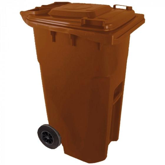 Háztartási kuka 240L-es, kerekes, műanyag, barna - [TM]