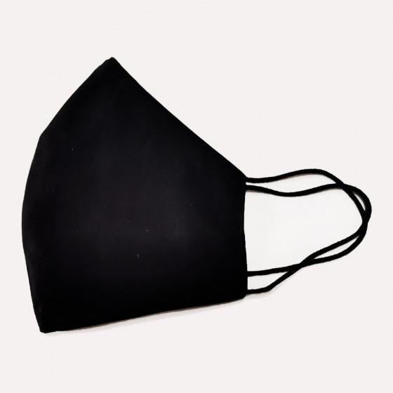 Mosható háromrétegű fekete, textil szájmaszk, feliratozható