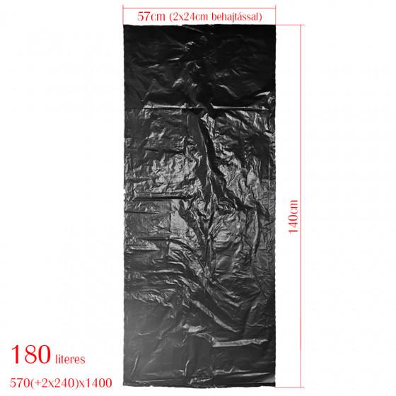 KZIWEB szemeteszsák 180L-es kukához 57cm (+2*24 cm)*140cm 30my