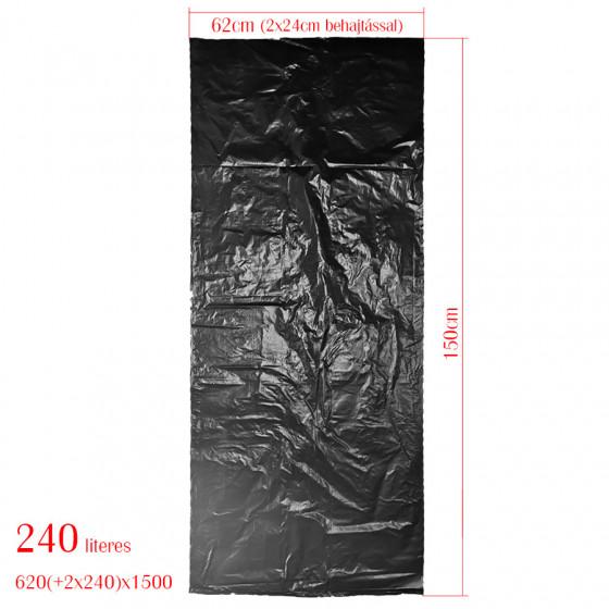 KZIWEB szemeteszsák 240L-es kukához 62cm (+2*24 cm)*150cm 30my