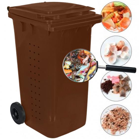 Komposztáló BIO kuka 240L-es, barna, kerekes, műanyag - [TM]