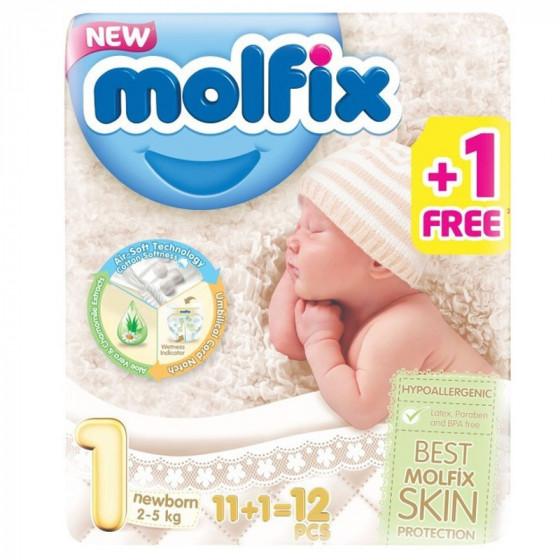 MOLFIX Újszülött pelenka (1-es méret) 11+1 db-os /PRÓBACSOMAG/