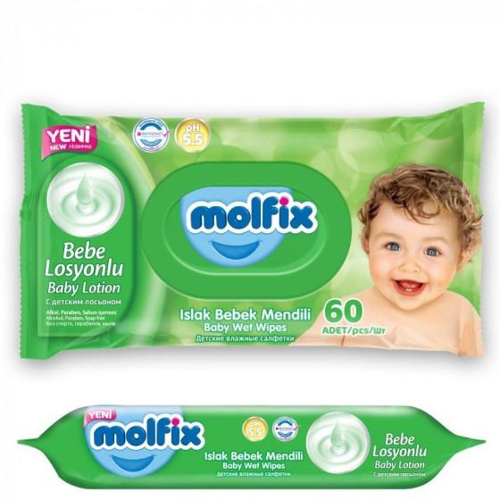 MOLFIX popsitörlő testápolóval 60 db-os