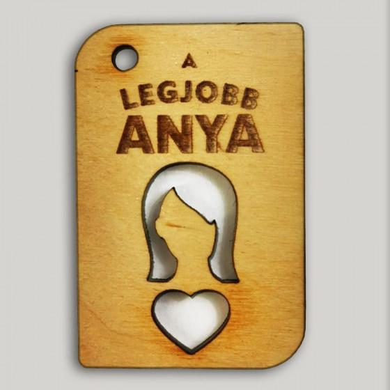 Emléktábla/Kulcstartó egyedi gravírozott szöveggel, figurával - LEGJOBB ANYA