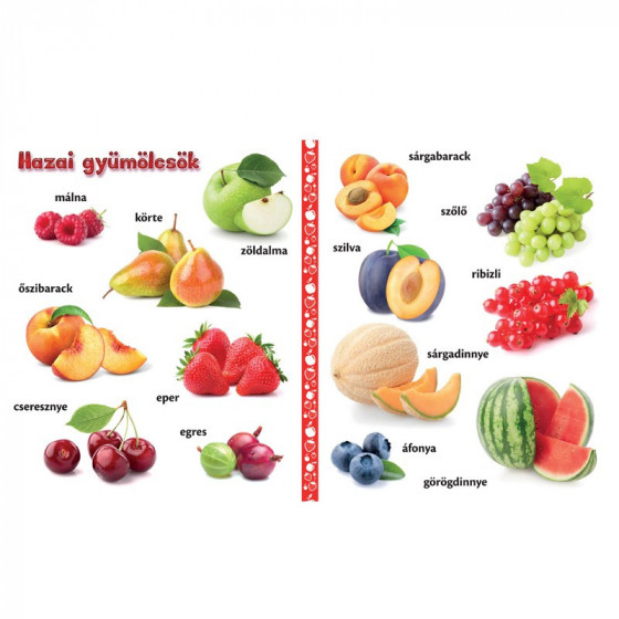 Gyümölcsök - vidám, képes lapozgató