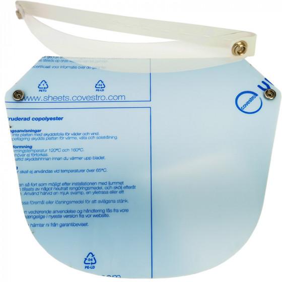 Arcvédő plexi, víztiszta, felhajtható, egészségügyi pajzs