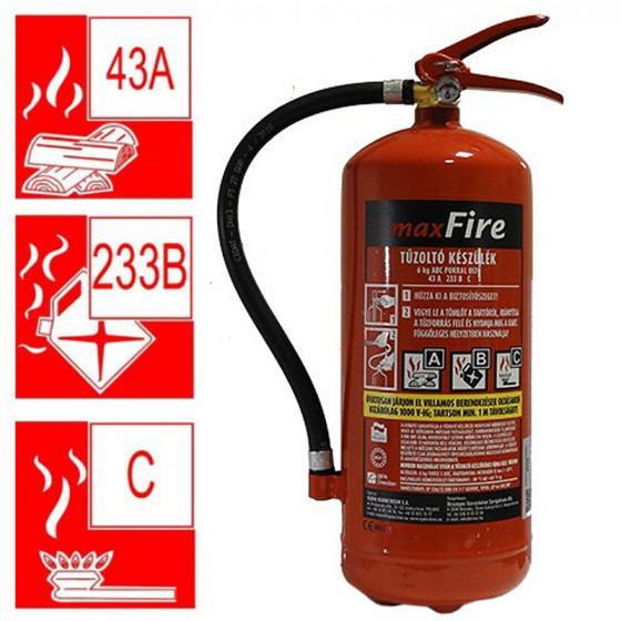6 kg-os porral oltó ABC tüzekre 43A 233B C teljesítmény + Ajándék fali függesztővel