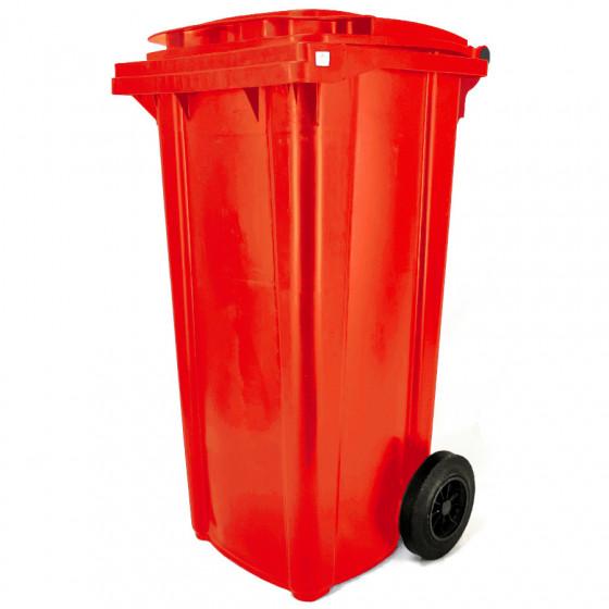 Háztartási kuka 120L-es, piros, kerekes, műanyag, premium - [TM]