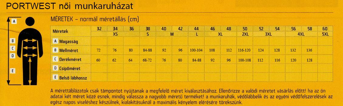 PORTWEST női mérettáblázat